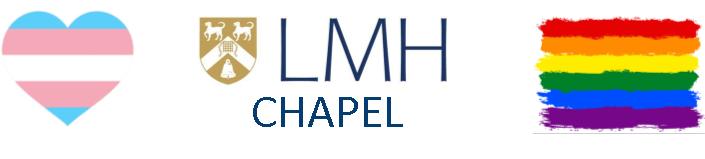 Transgender Pride Flag, LMH Chapel Logo and LGBTQ Flag