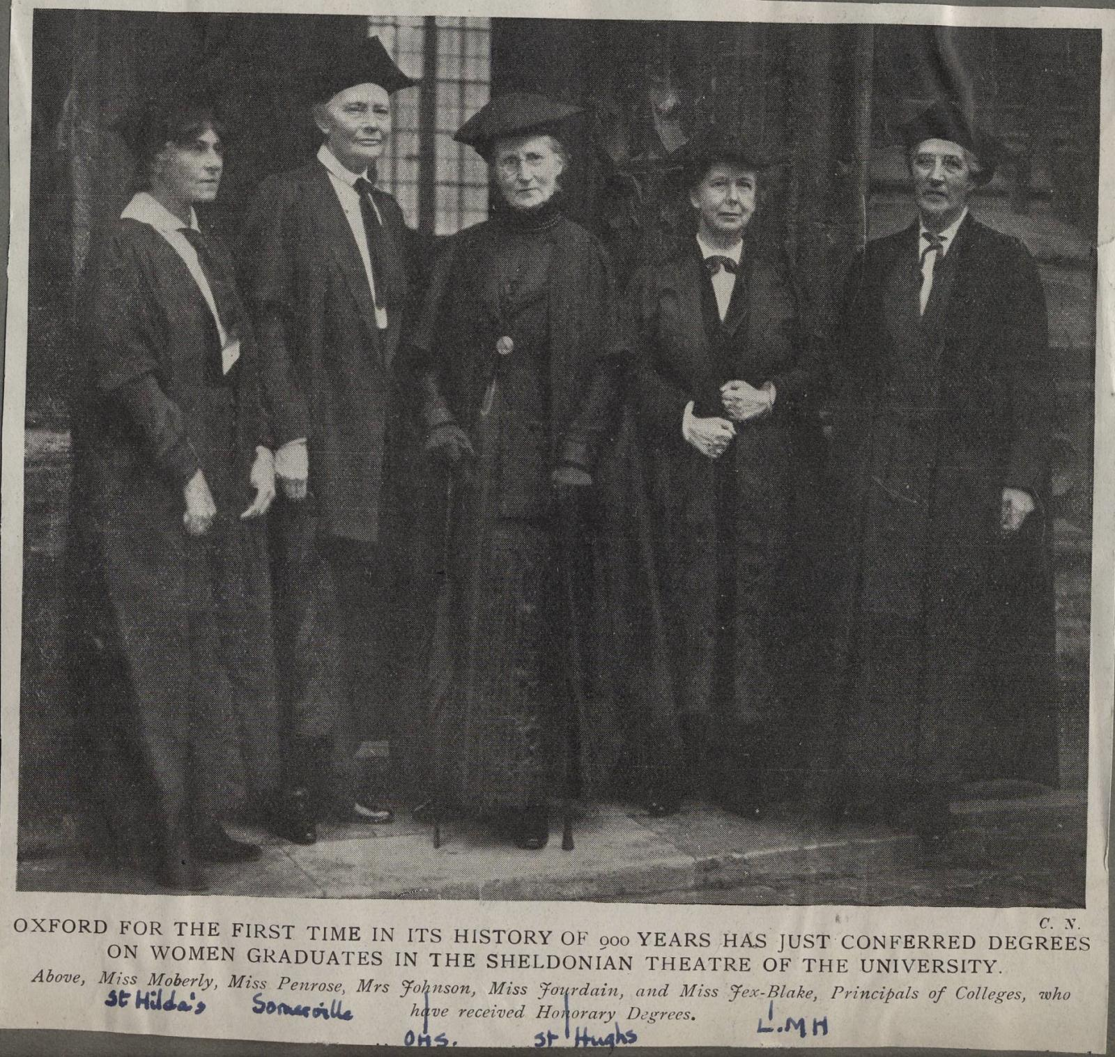 Principals of the Women's Hall's getting degrees in 1920