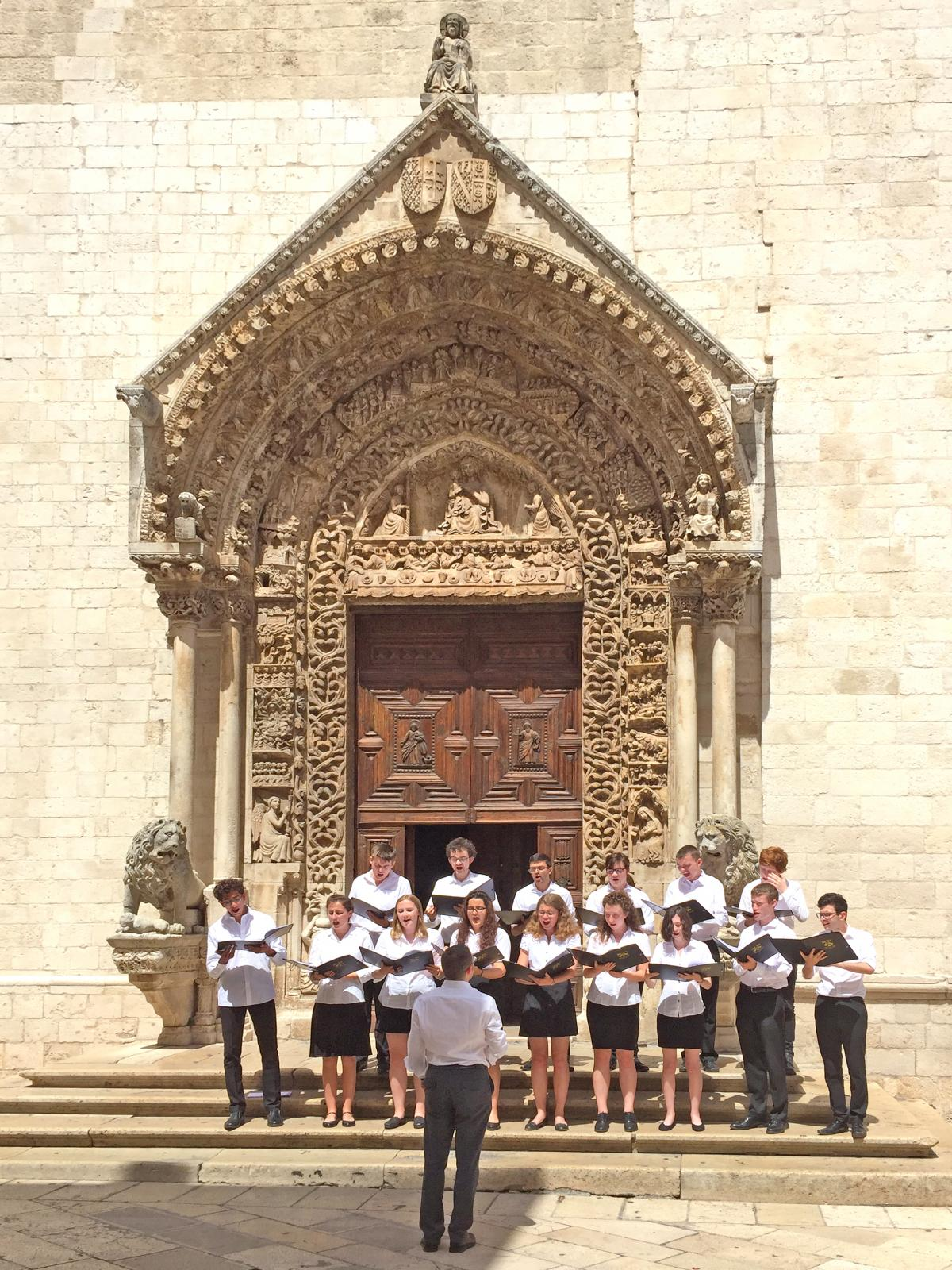 Performing outside Altamura Cathedral