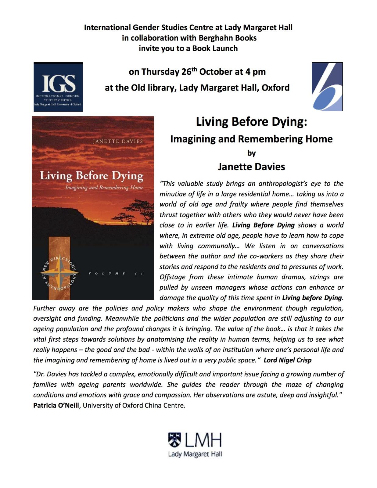 Living Before Dying: Book Launch