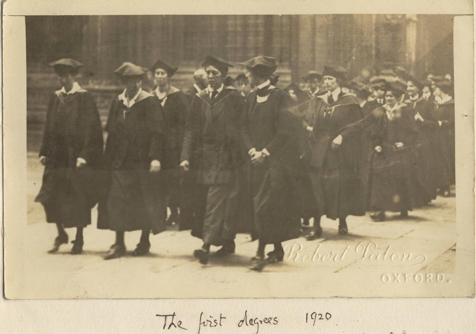 In 1920 women finally became full members of the University. This photograph, taken from the unpublished memoir of Helena Deneke ( LMH Tutor of German 1913-1938), shows students walking to the Sheldonian Theatre before being  presented their degrees.