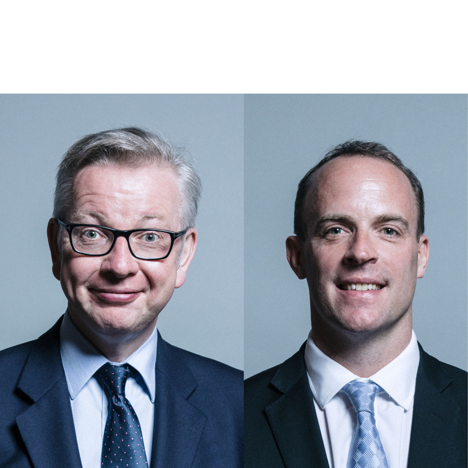 Head shots of Michael Gove and Dominic Raab, two men in suits, with blue ties, smiling at camera