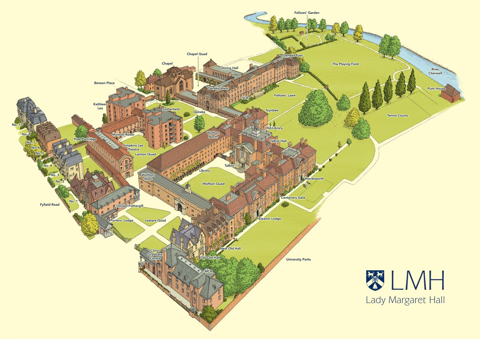 Map of Lady Margaret Hall, Oxford University