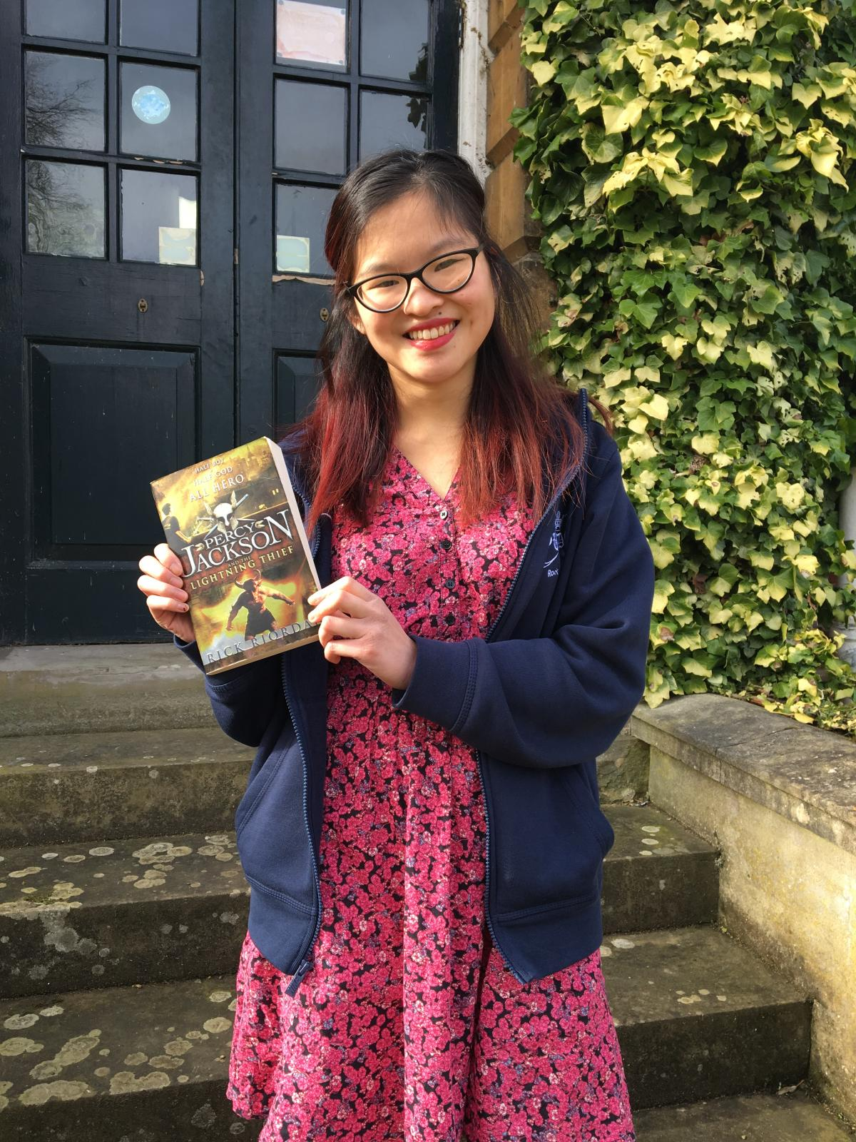 Our undergraduate student Nina with her book suggestion for World Book Day