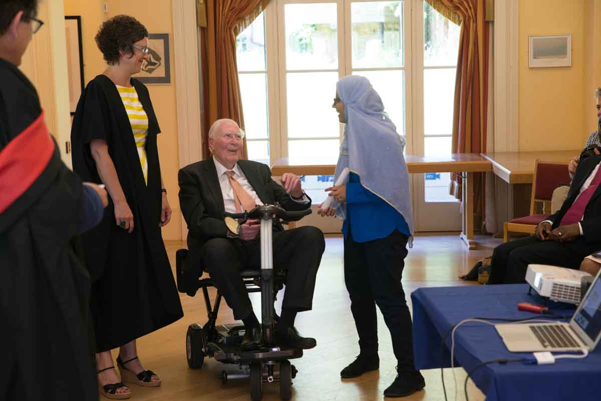 roger bannister presenting diplomas at the Foundation Year Graduation in 2017