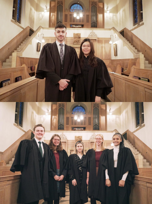 A picture split in two. The top half show the two LMH Organ Scholars standing next to each other in the Chapel. The bottom half shows the LMH Choir Scholars standing next to each other in the Chapel.