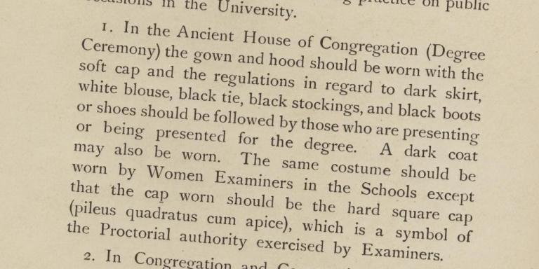 Women academic dress notice from 1920, from the LMH archives