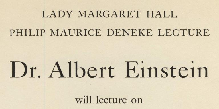 LMH's 1933 Deneke Lecture had a particularly charismatic and well-known speaker.