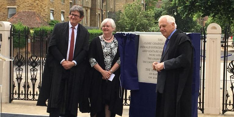 The Chancellor of Oxford University opens the new buildings, accompanied by the current Principal Alan Rusbridger and former Principal Dame Frances Lannon