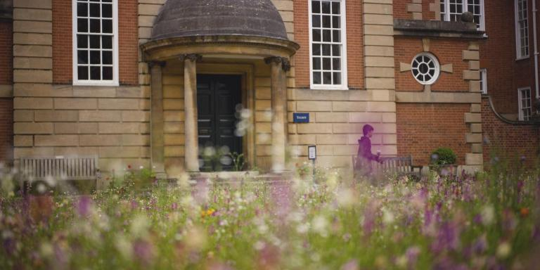 Photograph of Talbot Hall entrance and wildflower meadow.