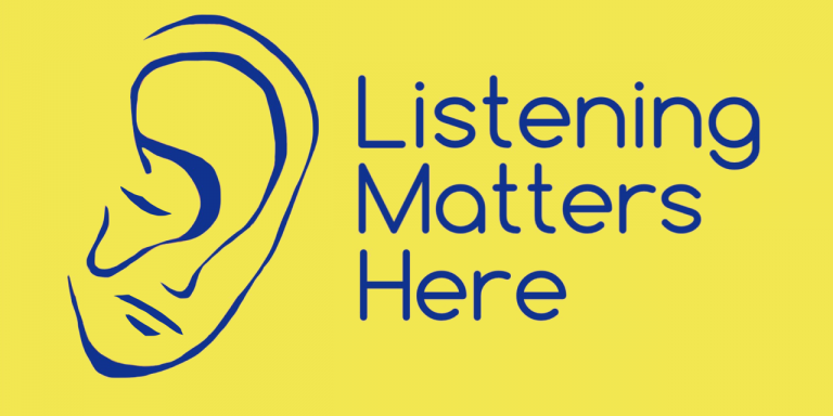 Listening Matters Here logo - yellow background, blue font, with a drawing of an ear next to text