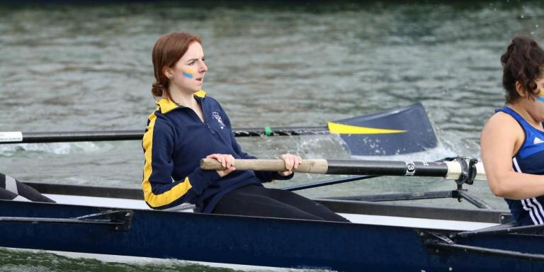 2019 Summer 8s photo credit - Lady Margaret Hall Boat Club cropped two female rowers