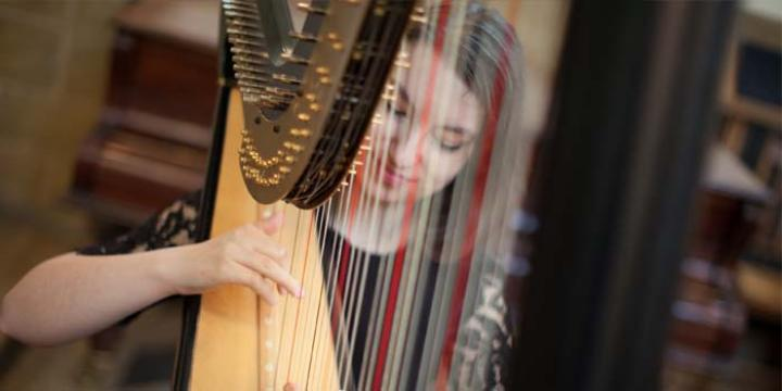 LMH music student playing the harp (photo credit: Ben Robinson)
